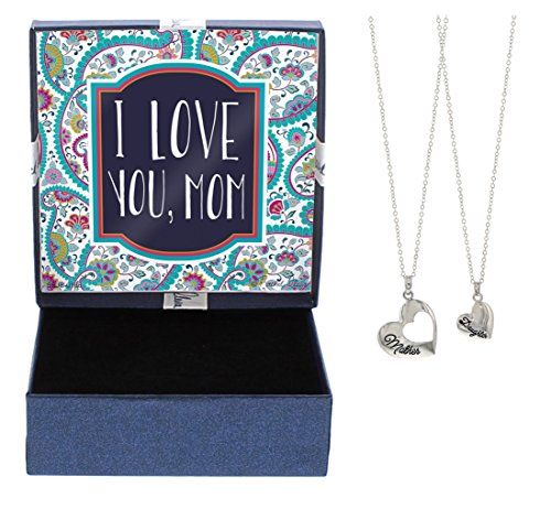 Mother's Day Gifts I Love You, Mom Happy Mother's Day Gift Pendant 2-Piece Necklace Set Mother Daughter Fashion Jewelry Necklace Jewelry Box Keepsake Gift for (Happy Mom's Day)