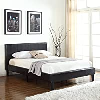 Deluxe Espresso Brown Bonded Leather Platform Bed with Wooden Slats (Full)