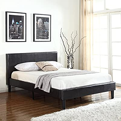 """Full 32"""" Tall Size Platform Upholstered Bed Frame and Faux Leather Panel Headboard with Mattress Foundation and Solid Wood Slat Bed Support No Box Spring Needed - Box Replacement - LEATHER HEADBOARD: 32"""" high quality bonded leather panel headboard with rich materials (L x W x H) 83"""" x 59"""" x 40"""" 61 pounds lbs MATTRESS SUPPORT: closely spaced wooden slat frames with strong and sturdy low profile center for ultimate relief for bed support to help increase long mattress life, no need to replace FINE UPHOLSTERY: premium ebony black sleek design, modern yet comfortable, the perfect fit to your bedroom. - bedroom-furniture, bedroom, bed-frames - 51xxCSNlHuL. SS400  -"""