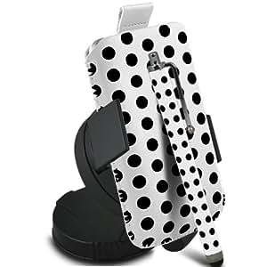 Fone-Case Samsung Galaxy S6310 joven protectora Polka PU Slip Cable Pull In Pouch Case Quick Release con, 360 giratorio del parabrisas del coche cuna y Mini capacitivo Stylus Pen (Blanco y Negro)