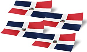 Dominican Republic 4 Pack of 4 Inch Wide Country Flag Stickers Decal for Window Laptop Computer Vinyl Car Bumper 4