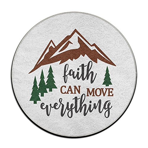 Circle Bathroom Rug Mat Flannel Extra Soft Shower Bath Rugs Shower Carpet Round Bath Mat Faith Can Move Mountains by BUN