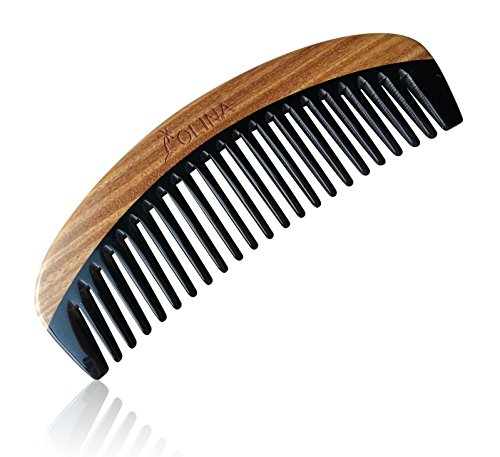 Wide Tooth No Static Black Buffalo Horn Comb with Sandalwood Handle - 3