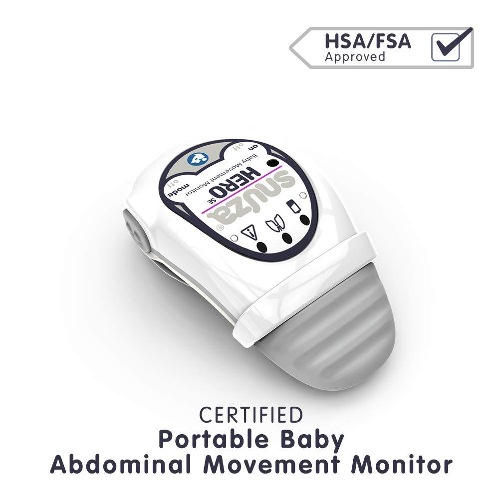 Snuza Hero (SE) Premium Baby Movement Monitor - Wearable Infant Abdominal Movement Monitor Alarm - Cordless, Long Battery Life - New Color 2019 - (Gray)