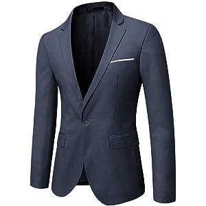 GOMY メンズジャケット スーツジャケット 紺 一つボタン 結婚式/ビジネス/カジュアル/オシャレ 大きいサイズ スリム 抗シワ 洗える XS-5XL