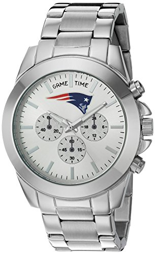 Game Time Women's 'Knock-Out' Quartz Stainless Steel Quartz Analog Watch, Color:Silver-Toned (Model: NFL-TBY-NE)