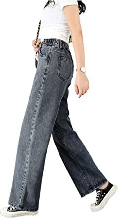 Angcoco Women's High Waisted Relaxed Loose Wide Leg Denim Pants Jeans