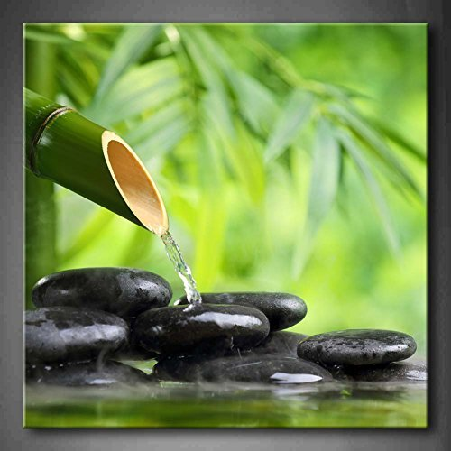 Crystal Emotion Green Spa Still Life with Bamboo Fountain and Zen Stone in Water Wall Art Painting Giclee Canvas Prints Wall Art Botanical Pictures Hanging Framed Ready to Hang 12x12inch