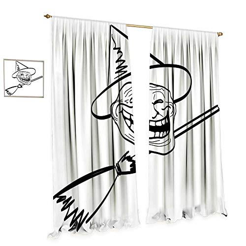 cobeDecor Humor Waterproof Window Curtain Halloween Spirit Themed Witch Guy Meme LOL Joy Spooky Avatar Artful Image Print Blackout Draperies for Bedroom W96 x L96 Black and White -