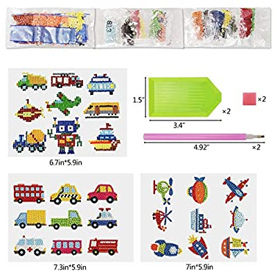 Rainmae 27 Pcs 5D Automotive Engineering Vehicle Diamond Painting Kits, Car, Airplane, Children's Painting Number Arts, DIY Mosaic Diamond Stickers Craft, Water Bottle Refrigerator Graffiti Stickers: Toys & Games