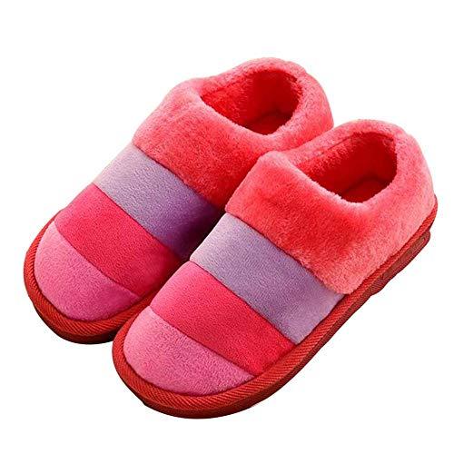Miss Li Pantoufles Pour Hommes Et Femmes Chaussures En Coton Peluche De Couleur Épaisse À Motif Red