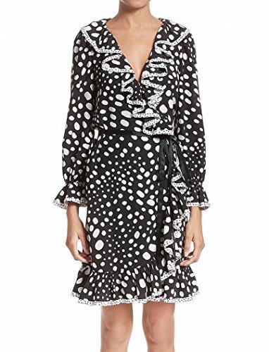 Marc Jacobs Womens Polka-Dot Ruffle Silk Wrap Dress Black 6 (Dress Silk Marc Jacobs)