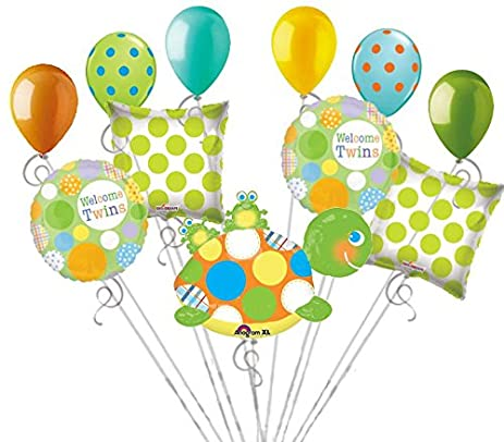 Amazon 11 Pc Polka Dot Turtle Baby Shower Twins Balloon Bouquet