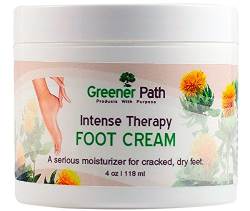 Foot Cream Intensive Therapy By Greener Path - Moisturizer For Dry, Cracked & Swollen, Feet & Heels - Freshens Tired Feet With Natural Heating & Cooling Action- From Natural Ingredients - Fresh Scent