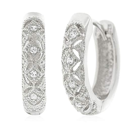 .925 Sterling Silver Womens Fancy Cubic Zirconia CZ Pattern Micro Pave Small Round Huggie Hoop Earrings (White)