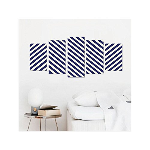 Blue Mountain Geometric Wallpaper (Liguo88 Custom canvas Navy Blue Decor Pattern with Geometric Triangle Like Striped Designed Artwork Wall Hanging for Bedroom Living Room Dark Blue and White)