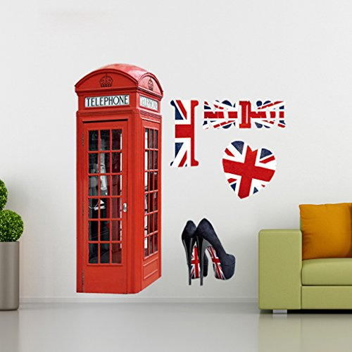 3D Vivid Telephone Booth Accs Wall Sticker Decal Wallpaper Kids Room Favor