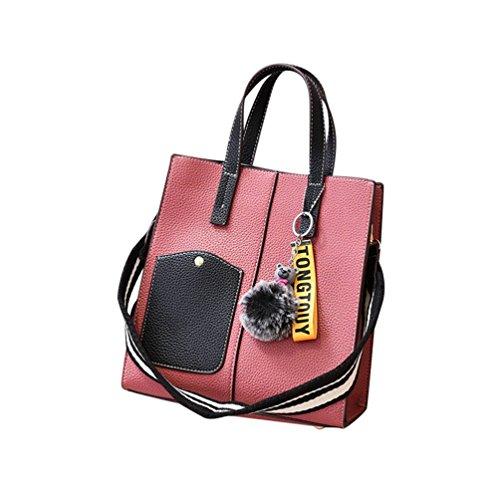 2PCS Red Zipper Hairball Shoulder Handbag Strap Decoration Wide Sets Simple Messenger Women Color Eraser Bag Solid Fashion ZhiYuanAN wUnxgqYFTT