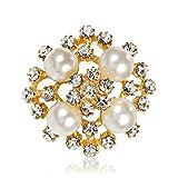 Sunvy Elegent Pearl Brooch Pin Scarf Pin Shiny Crystal Diamond Rhinestone Bouquet Party Dress Brooch