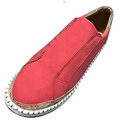 Zapatos de Mujer sin Corbata para Mujer, con Base Gruesa, Rojo ...