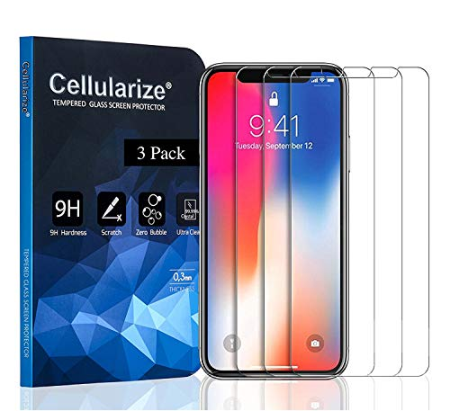 Cellularize [3 Pack] Tempered Glass Screen Protector Compatible with iPhone X & iPhone Xs [Anti-Scratch] [Bubble-Free]