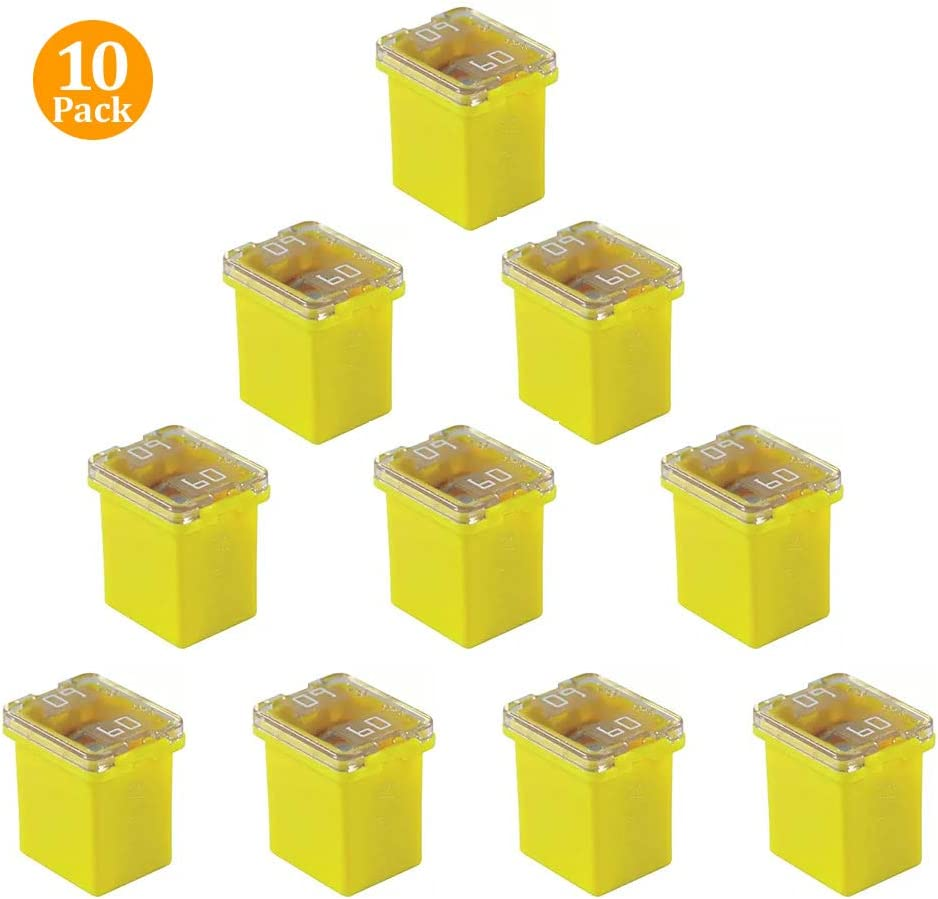 10 Pack FMX-60LP 60 Amp Low Profile Female Maxi Fuse 32Vdc Fit for Ford Chevy/GM Nissan and Toyota Pickup Trucks Cars and SUVs