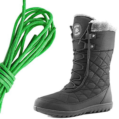 Daily Shoe Mujeres Comfort Punta Redonda Media Pantorrilla Plana Tobillo Alto Esquimal Invierno Botas De Piel De Nieve, Verde Negro