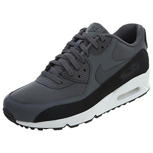 NIKE Air Max 90 Essential Mens Running Shoes, Black/Dark Grey-White, 10 D(M) US
