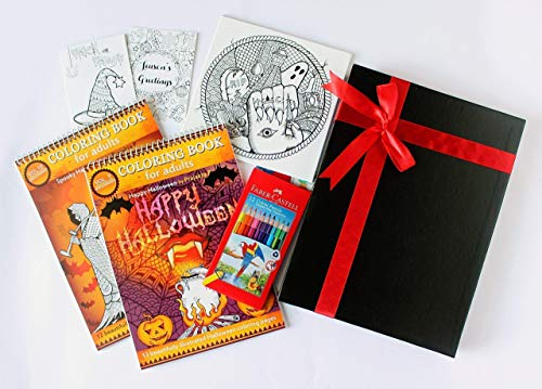 Halloween goodies coloring gift set- 2 Coloring Books, Coloring Canvas, Greeting Cards and Color Pencils (12) -