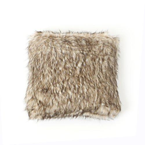 Best Home Fashion Platinum Frost Fox Faux Fur Pillow - 18