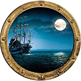"""12"""" Port Scape Instant Sea Window View Ship in Moonlight #1 Rustic Porthole Wall Decal Sticker Graphic Pirate Boat Ocean Kids Bedroom Playroom Nursery Decor Wall Art Room Decor Removable Fabric Vinyl"""