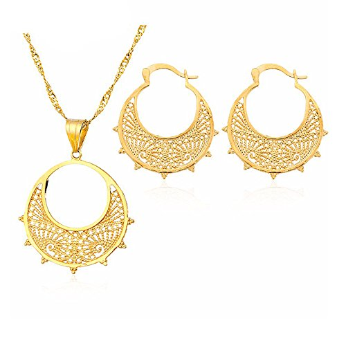 Delicate Women Necklace Earring Ethiopian Jewelry Sets 18k Gold Plated Two Pcs Jewelry Sets