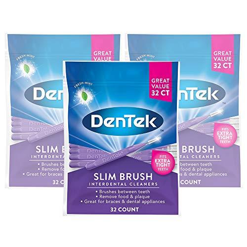 DenTek Slim Brush Interdental Cleaners | Brushes Between Teeth | Extra Tight Teeth | Mint Flavor | 32 Count | Pack of 3 ()