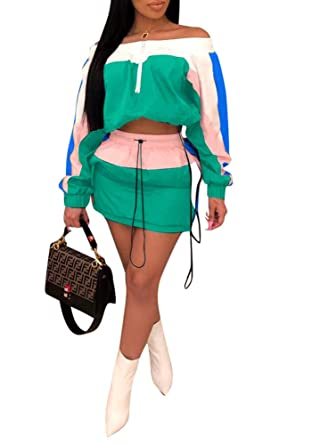 209e84703 Ophestin Women Off Shoulder Color Block Stripe Long Sleeve Crop Top Jacket  Skirts Set 2 Piece