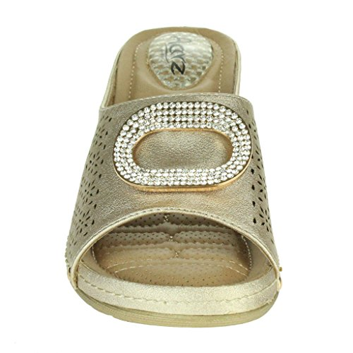 Mujer Señoras Almohadillas de talón Casual Suave Comodidad Absorción de impactos Ponerse Respirable Revestimiento Tacón de cuña Sandalias Zapatos Talla Oro