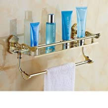 Continental paint folded towel rack/Gold plus white Shelves/Retro bathroom towel rack/With double pole double-R