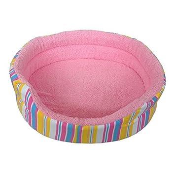 Pequeño suave mascota cama rosa rayas impresión perro gato cachorro gatito suave forro polar: Amazon.es: Productos para mascotas