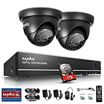 Security Camera System, 8 Channel 1080N DVR 2x720P HD-TVI Indoor/Outdoor IP66 Weatherproof Dome Cameras with IR Night Vision LEDs Home CCTV Video Surveillance Kits 1TB Hard Disk Drive, Email Alarm