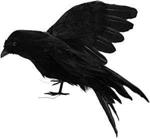 Fashionwu Realistic Crows Halloween Handmade Crow Prop Feathered Black Flying Crows Props Raven Scene Birds Decoration - Flying Crow, 5.9in