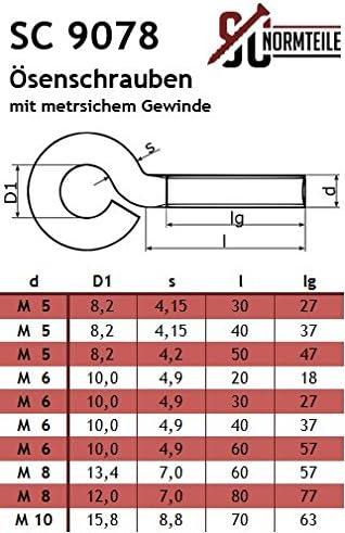 Gewindel/änge: 57 mm - aus Edelstahl A2 V2A SC9078 25 St/ück - Gewinde/ösen//Ringschrauben - M6 x 60 mm - /Ösenschrauben mit metrischem Gewinde SC-Normteile/®