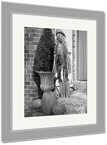 Ashley Framed Prints Closeup of A Halloween Decoration with Pumpkins Cloth Scarecrow and Hay Near, Wall Art Home Decoration, Black/White, 40x34 (Frame Size), Silver Frame, AG6471826 -