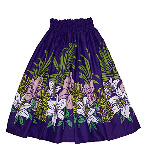 (Hawaiian Youth Girls Pa'u Hula Skirt, Hawaii Hula Dancer Skirts for 8 to 12 Years Old Girls (Purple))