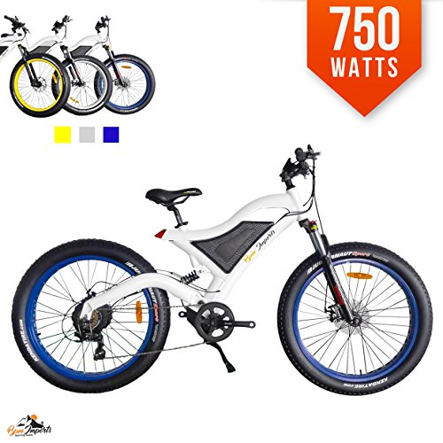 Bpmimports White Frame Blue Rims 750watts Fat TIRE 48V 4 Kenda Tires Samsung Battery 26 inch Wheels Electric Bicycle Bike Dual Suspension