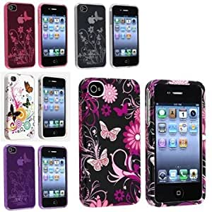 Bloutina eForCity 5x Combo Flower Butterfly Case Cover Compatible with iPhone 4 G 4S White+Pink+Purple+Clear