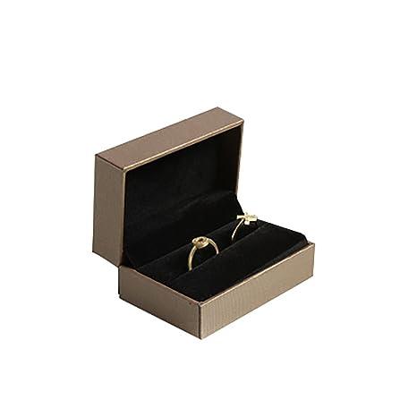 JUNGEN® Caja para dos anillos Organizador de Joyero Joyas, Estuche de joyería con Interior de terciopelo Caja de almacenamiento Boda Regalo (Café)