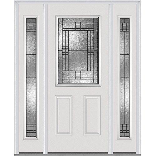 "National Door Company Z021517L 1/2 Lite 2-Panel Roman Decorative Glass Fiberglass Smooth Primed 36""x80"" Left Hand In-swing Prehung Front Door with 12"" Sidelites"