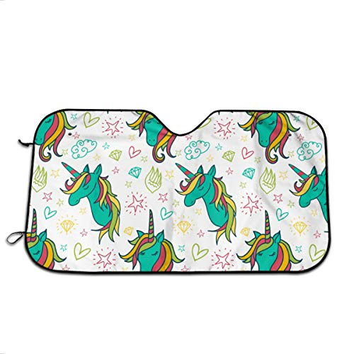 YVONNE WIDLAN Windshield Sun Shade Colorful Unicorn Car Windshield, Sun Shade to Keep Vehicle Cool Protect Your Car from Sun Heat & Glare Best UV Ray Visor Protector (Size: 51