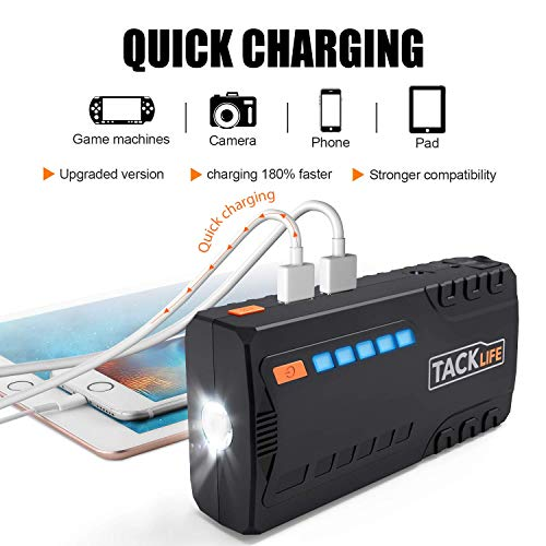 TACKLIFE T6 Car Jump Starter - 600A Peak 16500mAh, 12V Auto Battery Jumper with Quick-charge, Booster (up to 6.2l gas, 5.0l diesel), Portable Power Pack for Cars, Truck, SUV, UL Certified by TACKLIFE (Image #2)