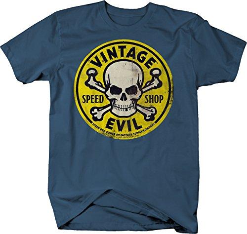 Yellow T-shirt Bold - Bold Imprints Vintage Evil Speed Shop Skull Crossbones Yellow Racing Hotrod Tshirt - 2XL