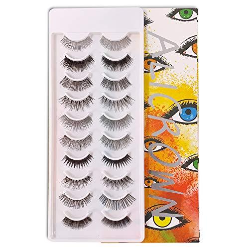 ALICROWN Natural Multipack False Eyelashes 10 Pairs Fake Lashes ORANGE (10 Pairs)
